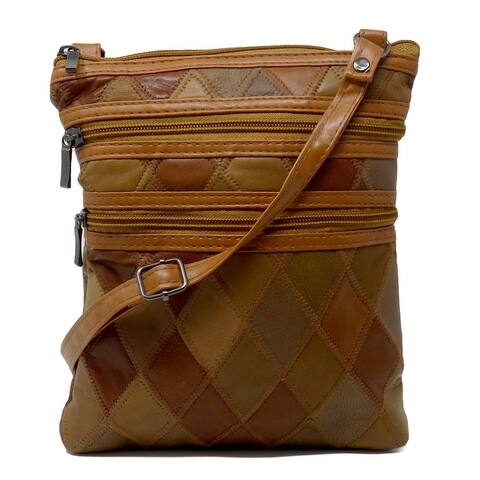 Slim Leather Stitched Patchwork Crossbody Bag-2 Colors options