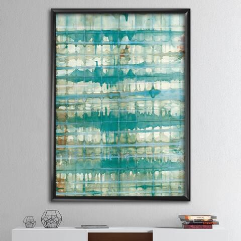 Designart 'Turquoise Watercolor geometrical VIII' Modern & Transitional Framed Art Print