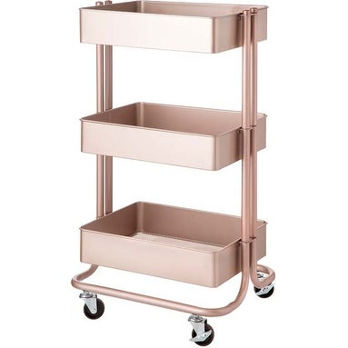 Rose Gold - 3-Tier Metal Rolling Cart