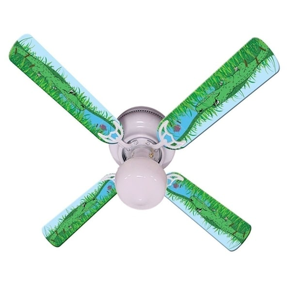 Green Alligator Print Blades 42in Ceiling Fan Light Kit - Multi