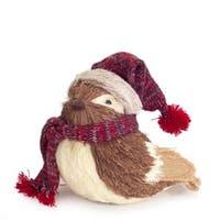 """9"""" Alpine Chic Decorative Brown and Cream Bird with Snow Hat and Scarf Christmas Table Top Decoration"""