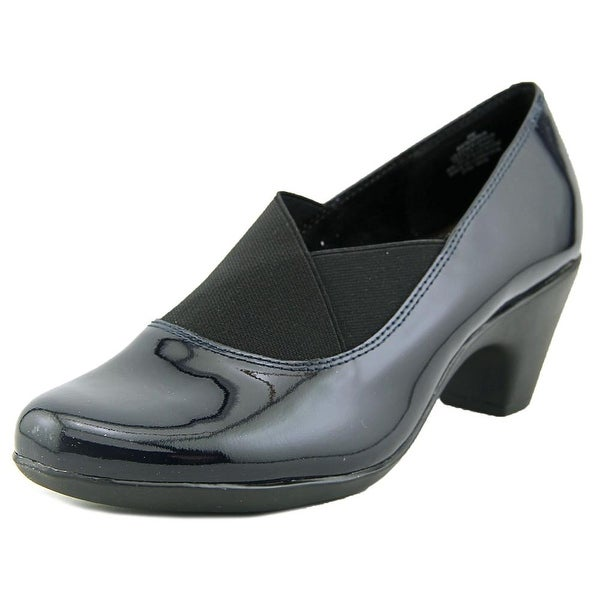 Easy Spirit Catava Women Round Toe Patent Leather Blue Loafer