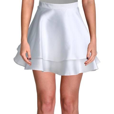 City Studio Womens Juniors A-Line Skirt Tiered Mini - White