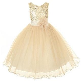 Link to Kids Dream Little Girls Gold Sequin Bodice Floral Overlaid Flower Girl Dress 2-6 Similar Items in Girls' Clothing