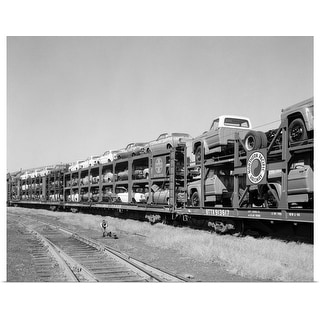 """""""1960's Railroad Freight Train Carrying Automobiles And Pickup Trucks"""" Poster Print"""