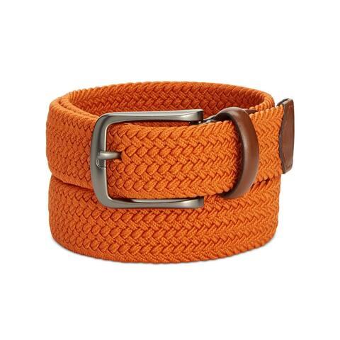 Perry Ellis Portfolio Mens Casual Belt Webbed Leather Trim