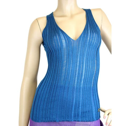 Gucci Women's Blue Cashmere Silk Tank Top Logo Sweater 264583 XS