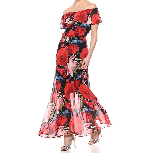 Betsey Johnson Red Womens Size 2 Ruffle Off Shoulder Maxi Dress
