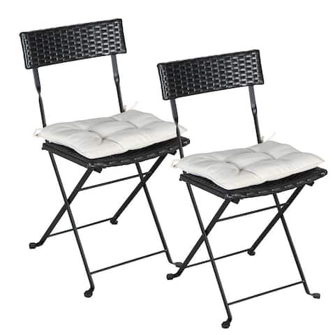 Set of Two Folding Wicker Chairs