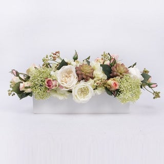 G Home Collection Luxury White and Pink Rose with Greenery Flower Arrangement - Green