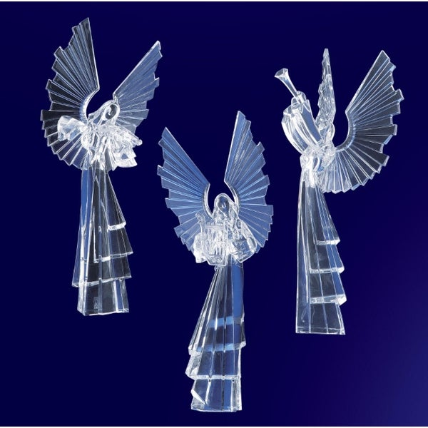 """Pack of 6 Icy Crystal Religious Instrument Playing Angel Figurines 16.8"""" - CLEAR"""