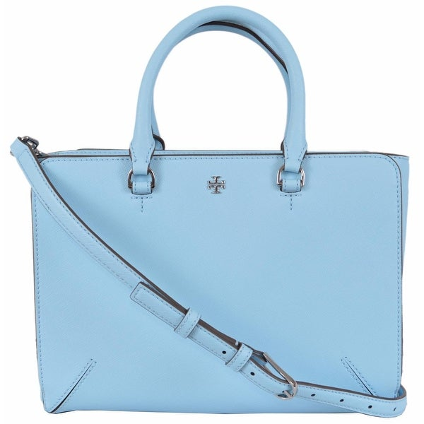 d01303f07793 Tory Burch Blue Leather Robinson Small Zip Convertible Tote Purse Handbag