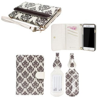 """JAVOedge Baroque Clutch Wallet for the Apple iPhone 6 (4.7"""") with Matching Passport and Luggage Tag Bundle - Brown"""