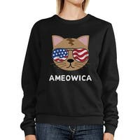 Ameowica Unisex Black Funny Design Sweatshirt Gift For Cat Lovers