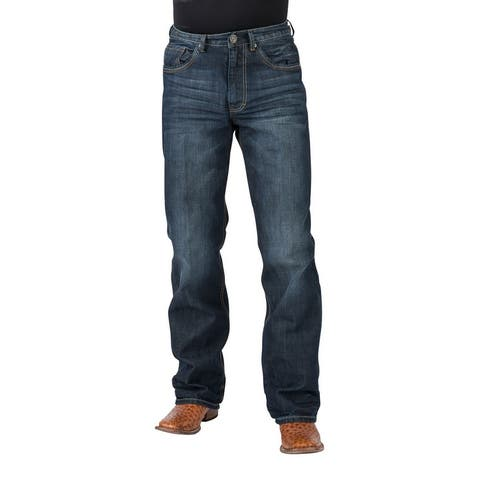 Stetson Western Denim Jeans Mens Bootcut Leg Blue