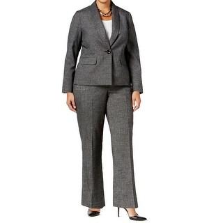 Le Suit NEW Gray Women's Size 16W Plus One-Button Pant Suit Set
