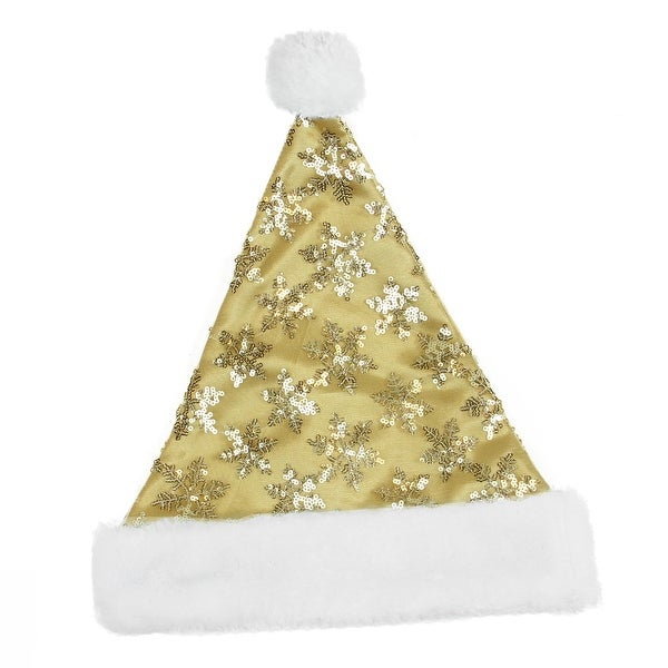 "15"" Gold Sequin Snowflake Christmas Santa Hat with Faux Fur Brim - Medium"