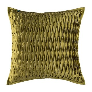 100% Handmade Imported Pinched Perfection Pillow Cover, Yellow Green