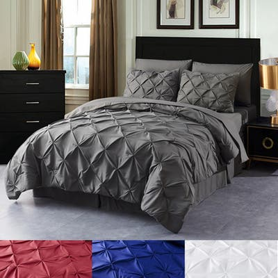 8-piece Pinch Pleated Bed-in-a-Bag Down Alternative Comforter Set