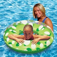 "36"" Classic Transparent, Lime Green and White Polka Dot Inflatable Swimming Pool Inner Tube - CLEAR"