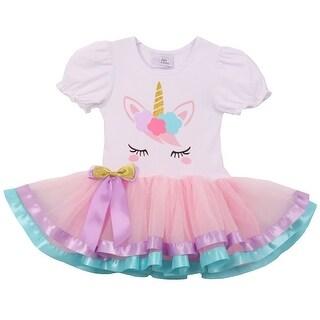 Cute Short Sleeve Satin Tutu Summer Unicorn Skirt Dress Pink S CC 1906