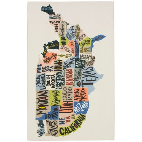 Mohawk Home States Map Educational Kids Area Rug
