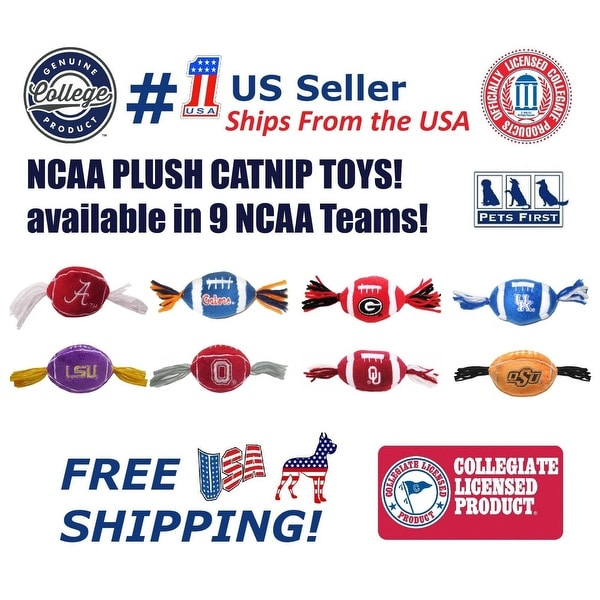 NCAA Catnip Toy - Officially Licensed Plush Football Toy