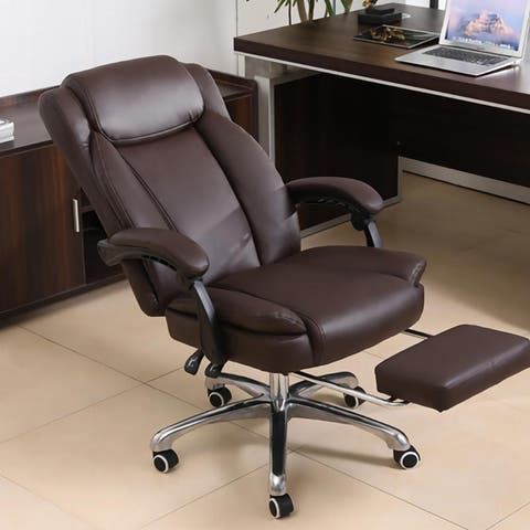 Kerrogee Adjustable Full Leather High Back Recliner Executive Chair with Footrest - 43.3''H x 26.8''D x 25.6''W