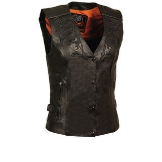 Womens Leather Vest Reflective Tribal Design / Piping