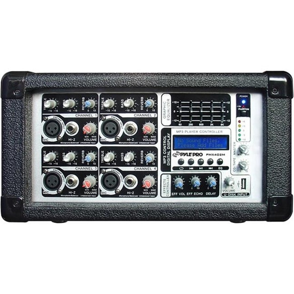 Pyle PMX402M 4 Channel Powered Mixer with USB Input