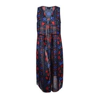 City Chic Women's Plus Size Sheer Floral-Print Kimono (S, Black) - s