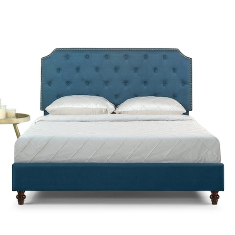 Priage by ZINUS Blue Tufted Nailhead Upholstered Bed Frame with Adjustable Headboard