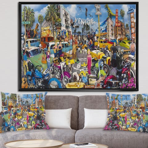 Designart 'Venice Beach Roadside Collage' Modern & Contemporary Gallery-wrapped Framed Canvas