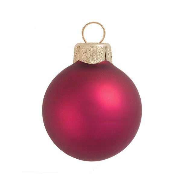 "28ct Matte Soft Berry Red Glass Ball Christmas Ornaments 2"" (50mm)"