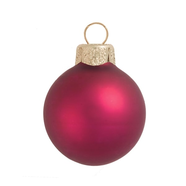 """2ct Matte Soft Berry Glass Ball Christmas Ornaments 6"""" (150mm) - RED"""