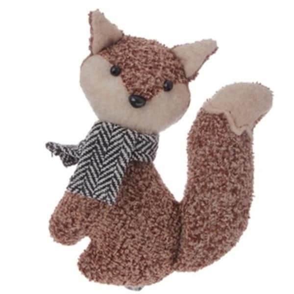 "4.5"" Alpine Chic Brown Stuffed Fox with Black and White Scarf Christmas Ornament"