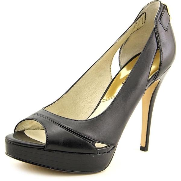 bc6f6bb95707 Michael Michael Kors Hamilton Open Toe Women Leather Black Platform Heel