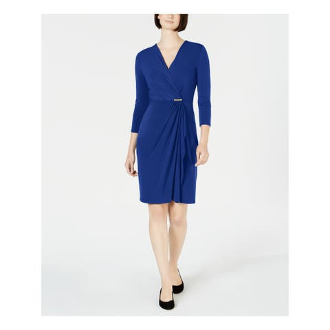 CHARTER CLUB Blue 3/4 Sleeve Above The Knee Shift Dress Size M