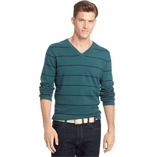 Izod V-Neck Sweater Large L Dark Green and Navy Blue Striped Cotton Pullover