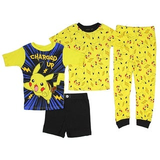 Pokemon Boys' Character 4-Piece Cotton Pajamas Set
