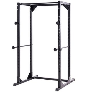Costway Adjustable Dumbbell Rack Cage Chin up Squat Stand Fitness Strength Traning Gym - Black