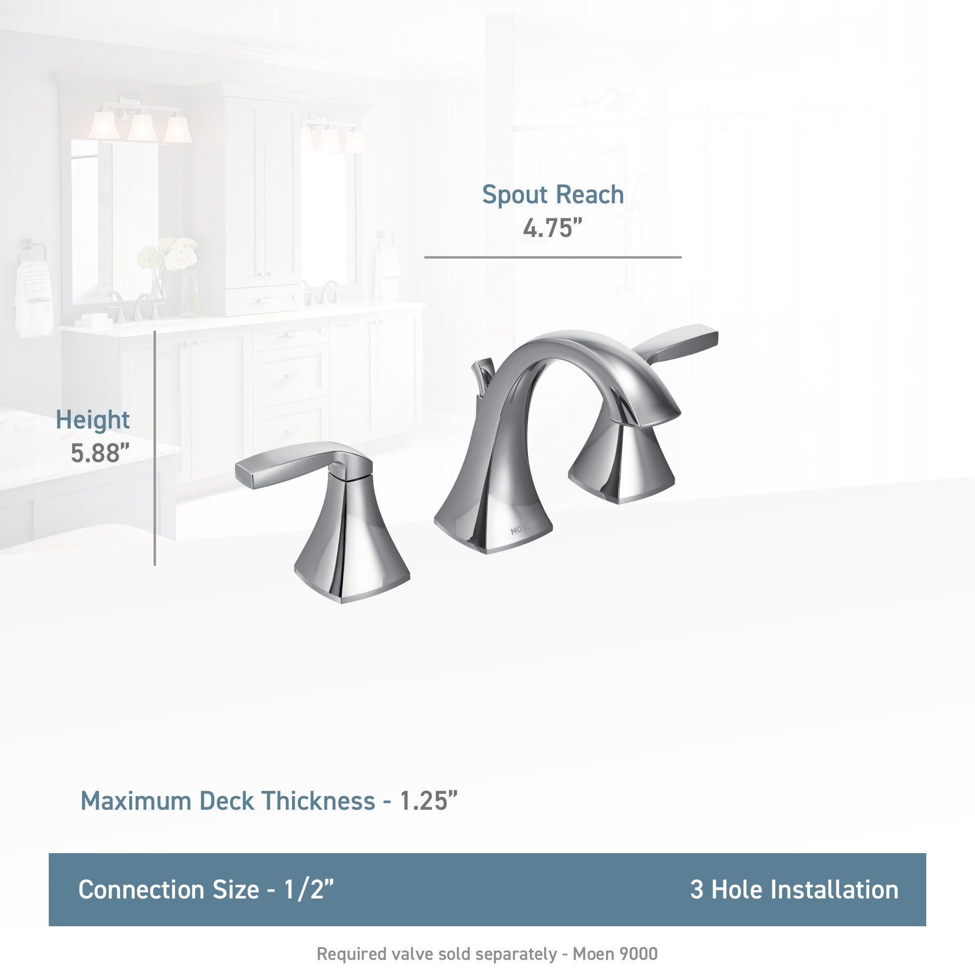 Moen T6905 Voss Two-Handle High-Arc Widespread Bathroom Faucet without Valve Chrome Moen Incorporated