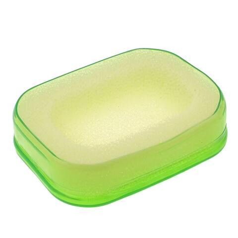 Unique Bargains Bathroom O Shaped Green Soft Plastic Multifunctional Soap Holder Vessel Dish