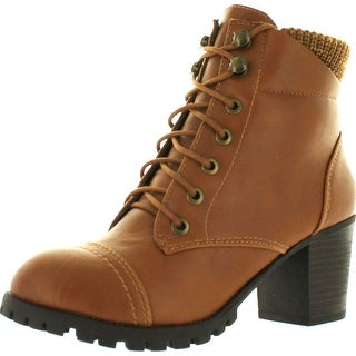 Bamboo Baxter-10L Women's Knitting Top Front Lace Up Combat Style Ankle Boots - Chestnut