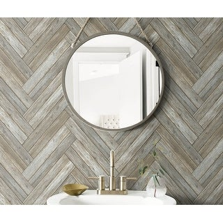 NextWall Chevron Wood Peel and Stick Removable Wallpaper - 20.5 in. W x 18 ft. L