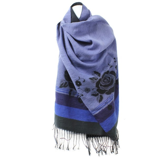 Reversible Winter Rose Scarf with Fringe. Opens flyout.