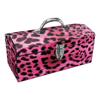"Sainty 24-033 Art Deco Tool Box, 16"", Steel, Pink Leopard"