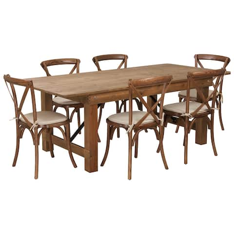 """7' x 40"""" Rustic Folding Farm Table Set with 6 Cross Back Chairs and Cushions"""