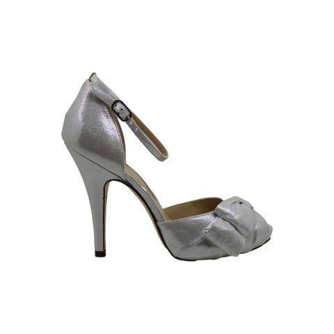 Nina Womens EMMYLOU Fabric Open Toe Ankle Strap Classic Pumps