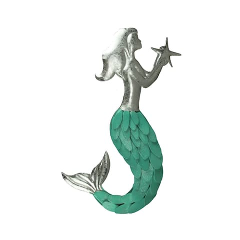 Sparkly Green Tail Metal Art Mermaid Wall Sculpture with 3D Scales - 28.25 X 17.5 X 1 inches